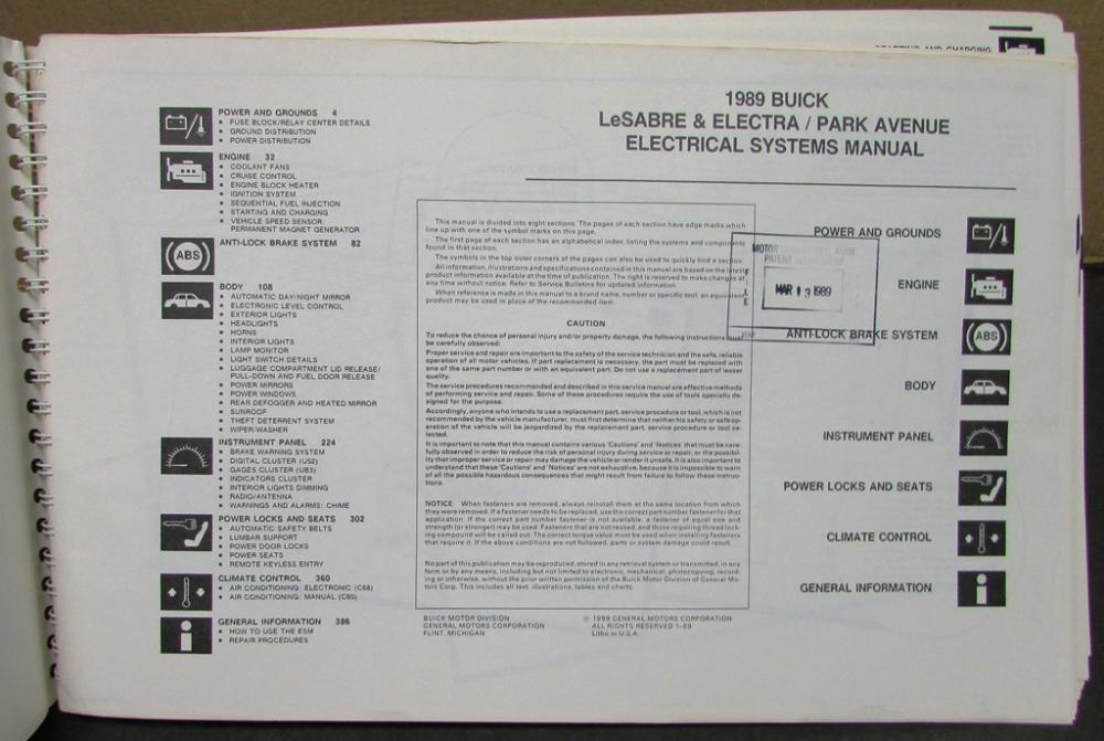1973 buick lesabre engine diagram 1989 buick dealer electrical wiring diagram service manual ... 1989 buick lesabre engine diagram
