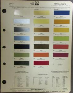 1974 Cadillac Color Paint Chips Original Ditzler PPG