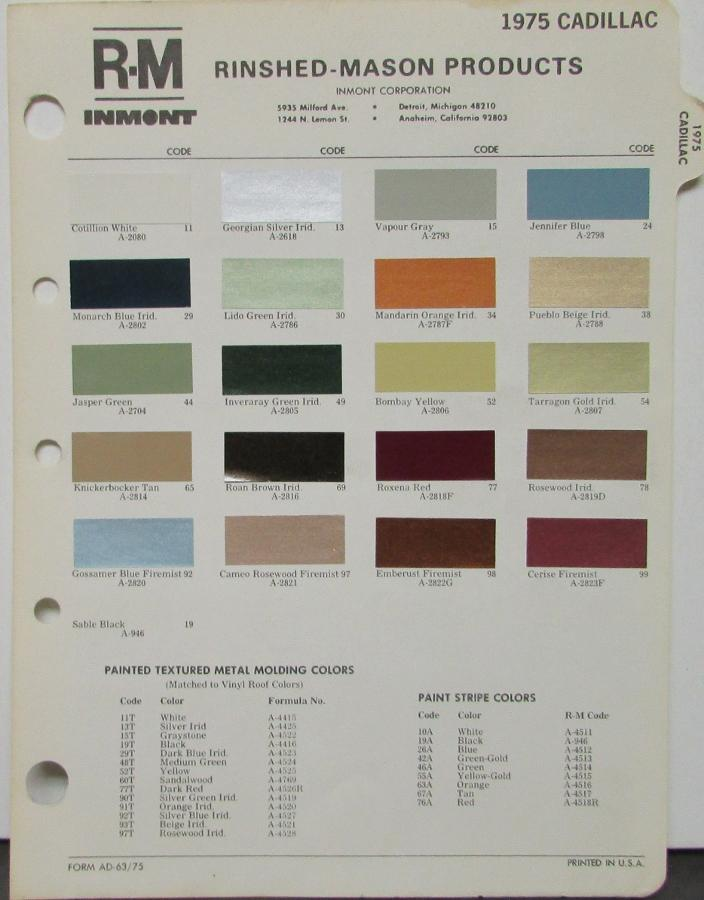 cadillac paint color chart 1976 cadillac paint colors