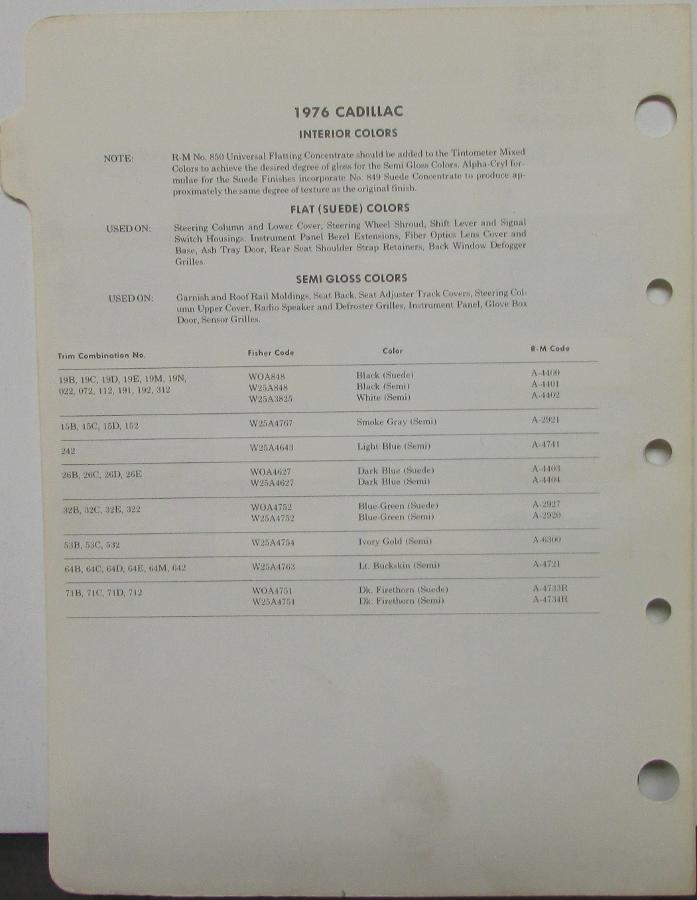 1968 CADILLAC FLEETWOOD DEVILLE CALAIS ELDORADO PAINT CHIPS RM RINSHED MASON 9