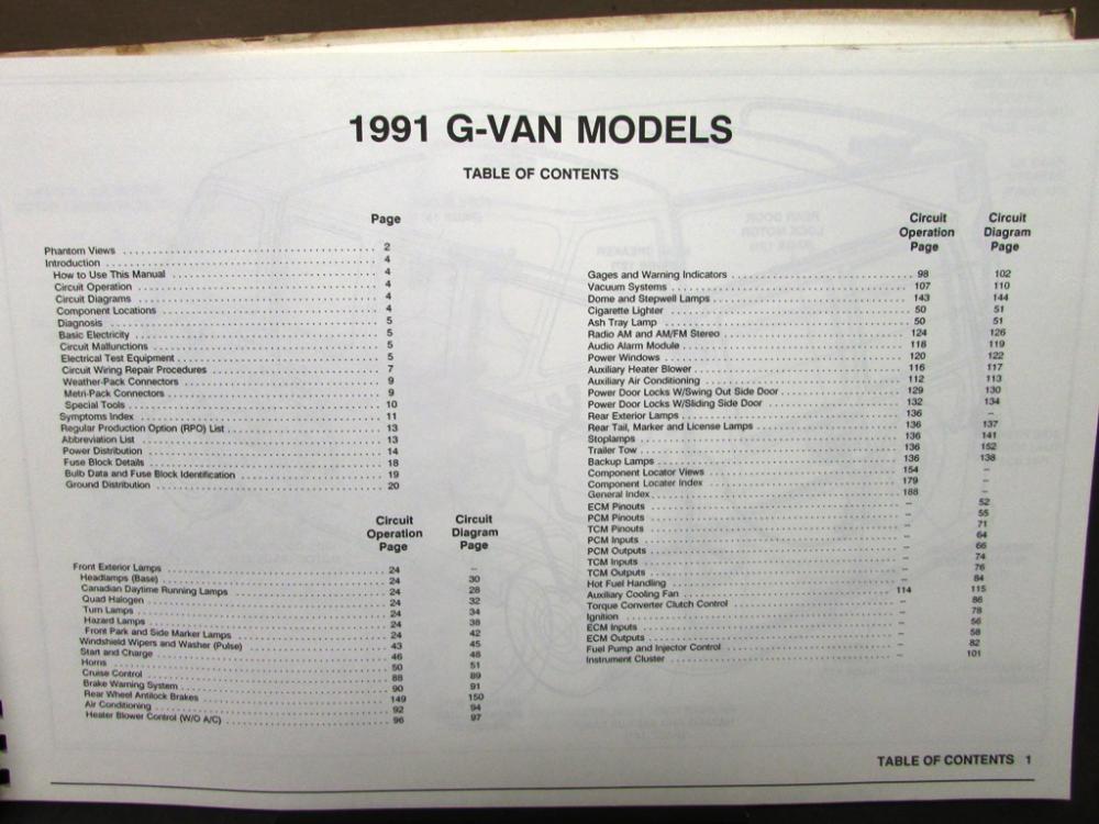 1991 GMC Electrical Wiring Diagram Service Manual Vandura