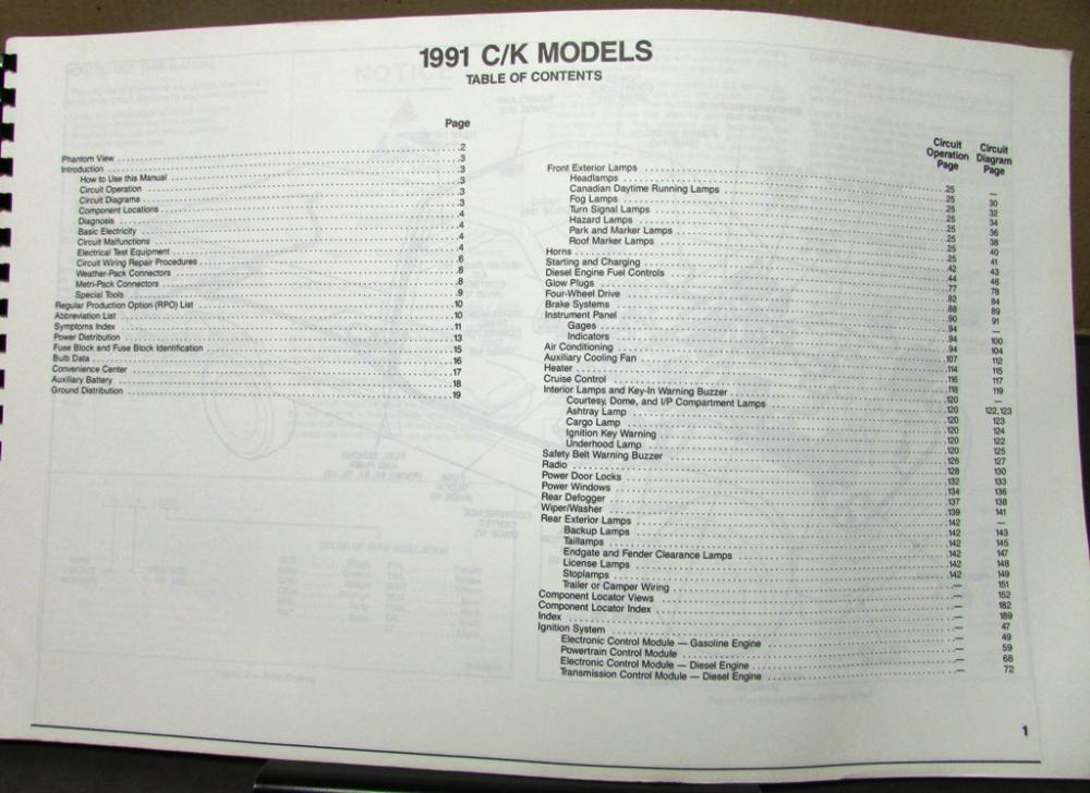 1991 gmc c k sierra pickup wiring diagram manual 1991 gmc electrical wiring diagram service manual sierra models repair  1991 gmc electrical wiring diagram