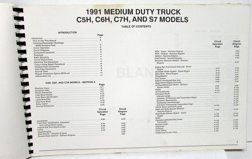 1991 Gmc Chevy Topkick Kodiak S7 Wiring Diagram Manual Original ...