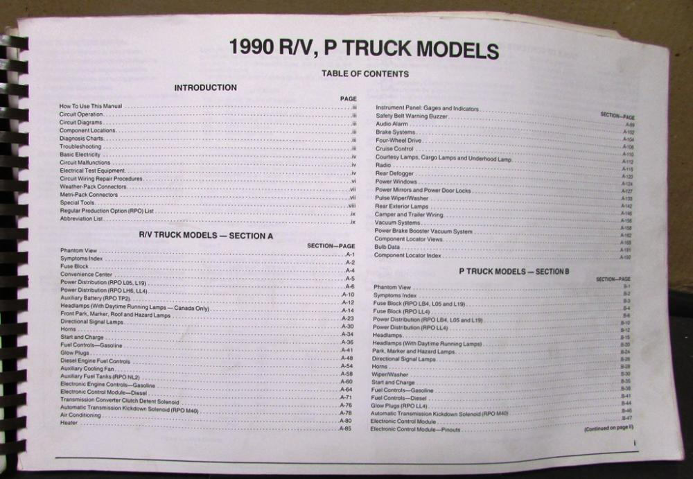 gmc electrical wiring diagram service manual light truck r v p models 1990 gmc electrical wiring diagram service manual light truck r v p models