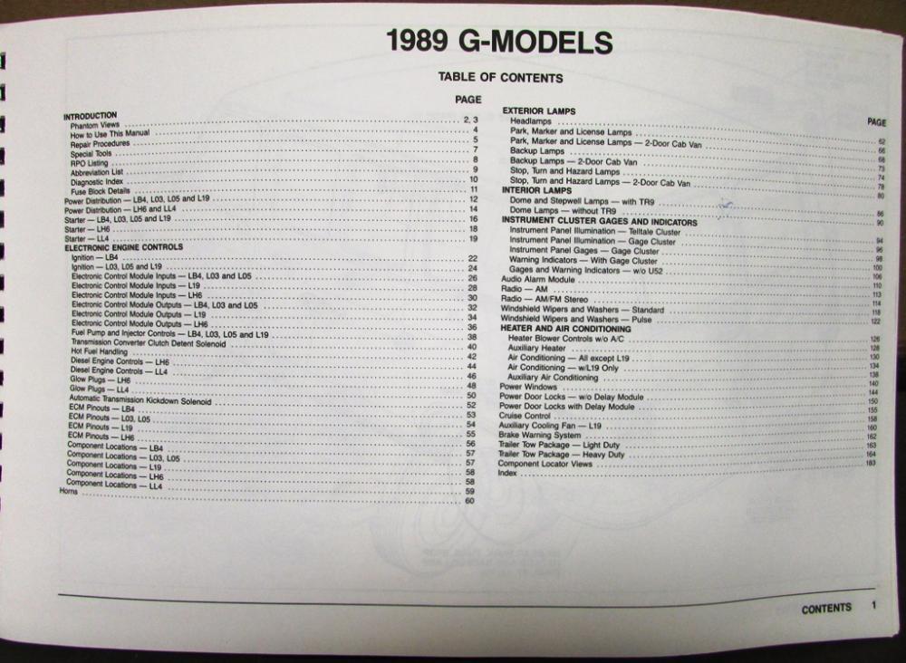 1989 chevy van wiring diagram 1989 chevrolet electrical wiring diagram dealer service manual  1989 chevrolet electrical wiring