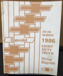 1986 Chevrolet Electrical Wiring Diagram Dealer Manual 10-30 Series Truck