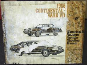 1986 lincoln dealer electrical vacuum diagram manual continental mark vii