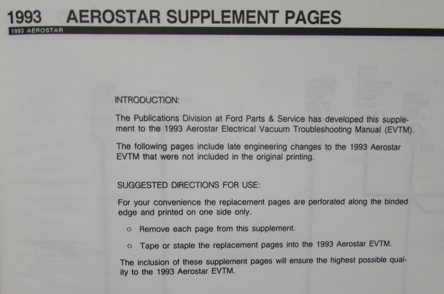 1993 ford aerostar van supplement electrical vacuum trouble shooting1993 ford aerostar van supplement electrical vacuum trouble shooting shop manual