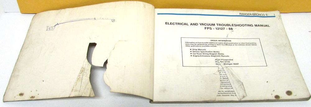 1988 Ford Dealer Electrical & Vacuum Diagram Service Manual Ranger ...