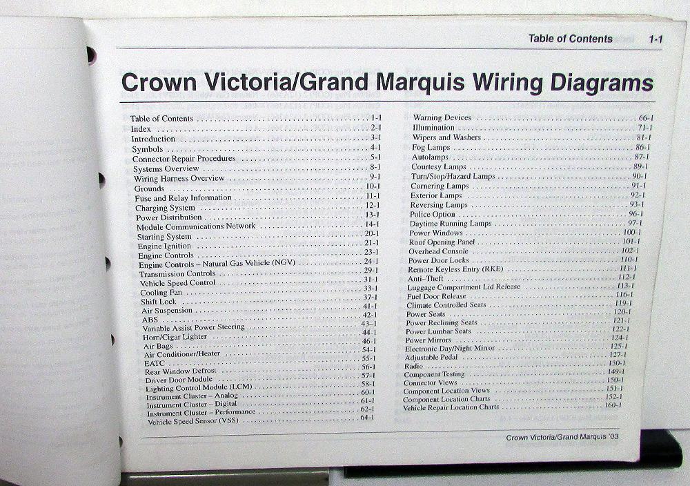 2003 ford mercury electrical wiring diagram manual crown vic grand marquis