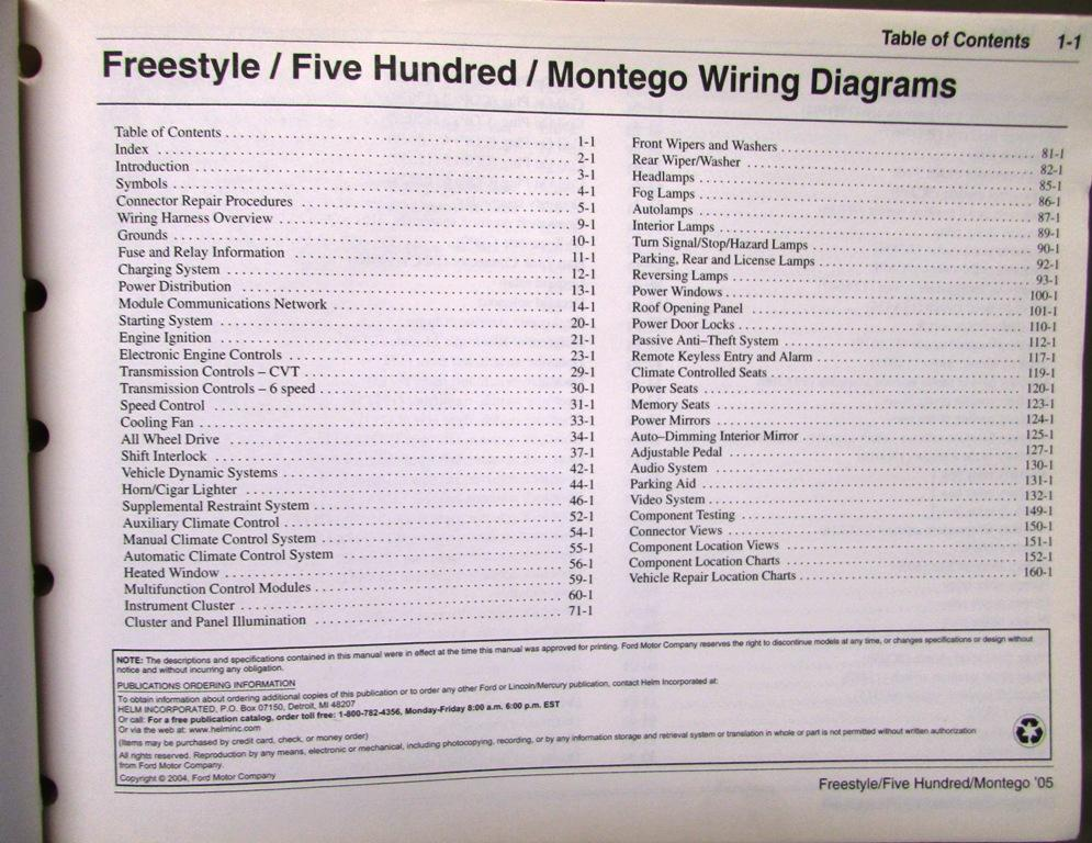 2005 Ford Mercury Electrical Wiring Diagram Service Manual Freestyle Rhautopaper: 2005 Ford Freestyle 500 Montego Wiring Diagram Manual At Gmaili.net