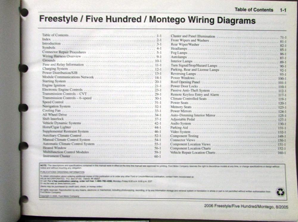 2006 Ford Mercury Dealer Electrical Wiring Diagram Manual Freestyle Rhautopaper: 2005 Ford Freestyle 500 Montego Wiring Diagram Manual At Gmaili.net