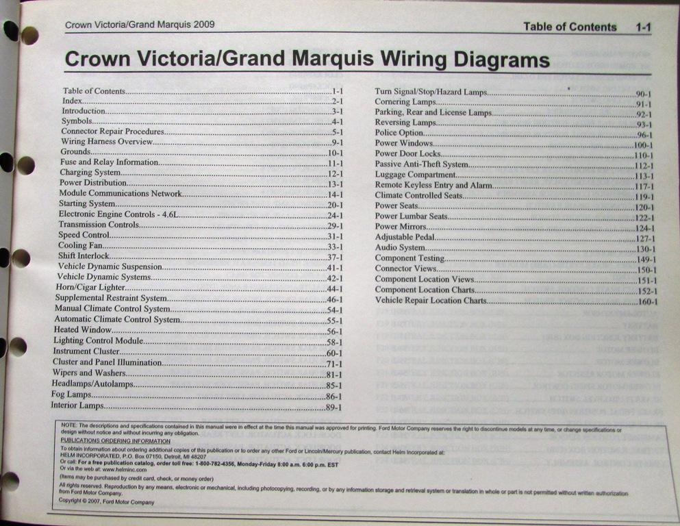 ford mercury electrical wiring diagram manual crown vic grand marquis 2009 ford mercury electrical wiring diagram manual crown vic grand marquis