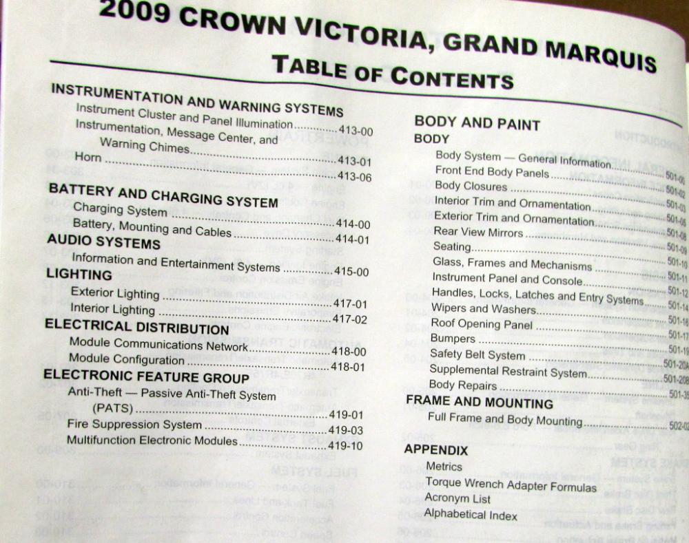 2009 ford crown victoria mercury grand marquis service. Black Bedroom Furniture Sets. Home Design Ideas