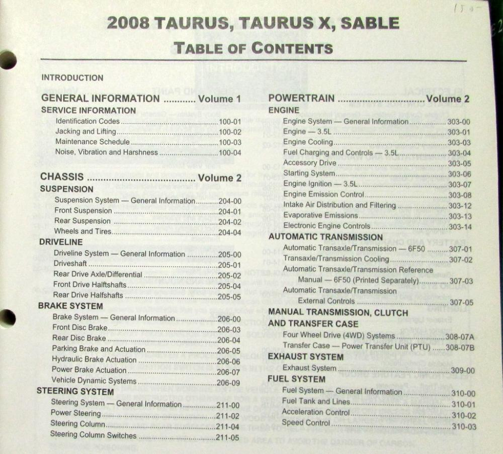 2008 Ford Taurus & X and Mercury Sable Service Shop Repair Manual Original