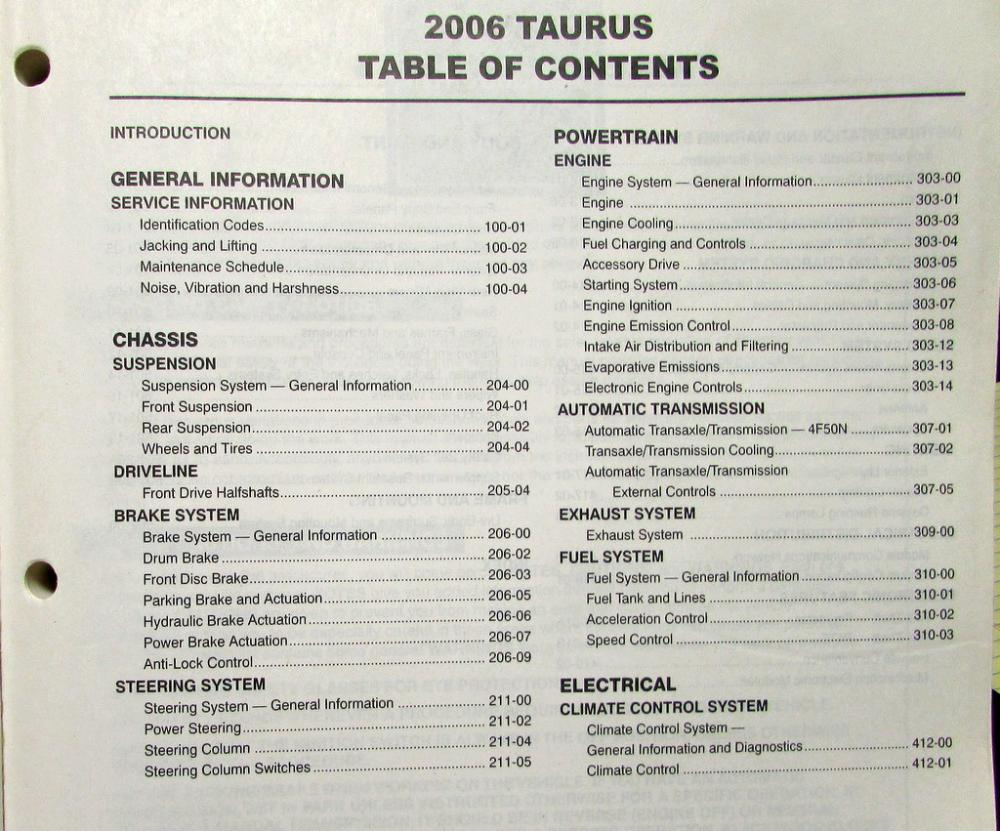 ford taurus owners manual 2006