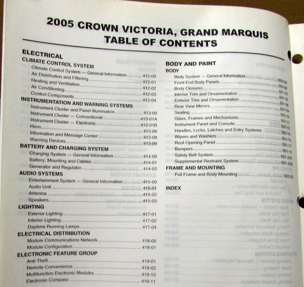 2005 Ford Crown Victoria & Mercury Grand Marquis Service Shop Repair Manual  Orig
