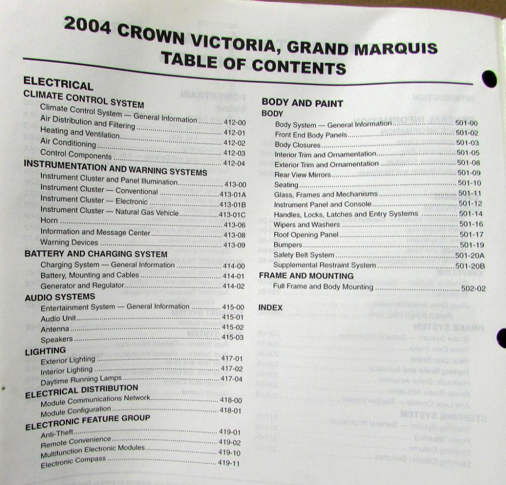 2004 Ford Crown Victoria & Mercury Grand Marquis Service Shop Repair Manual  Orig