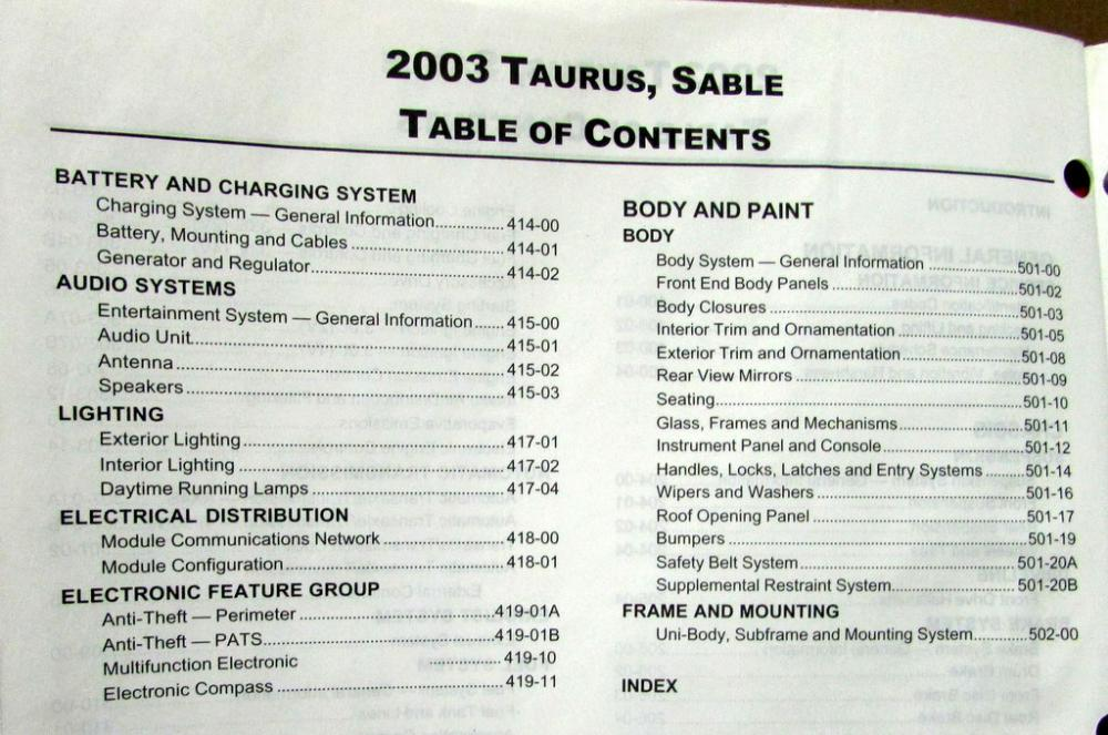 2003 ford taurus se manual