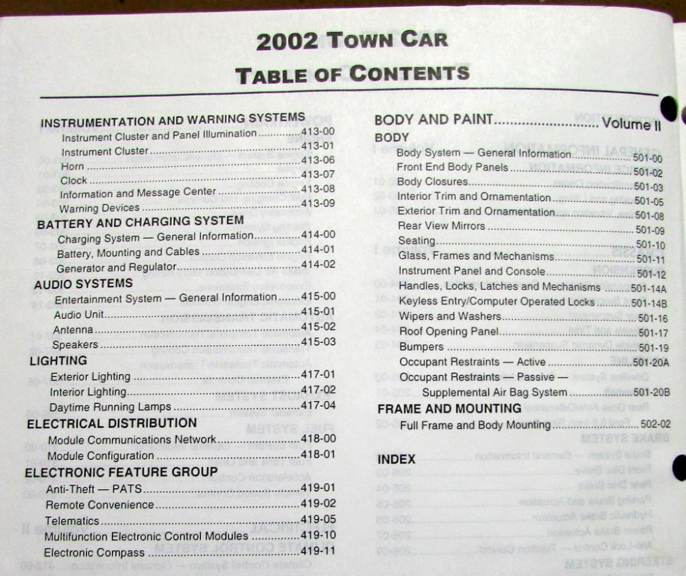 2002 lincoln town car vols 1 2 service shop repair manual original rh autopaper com 1999 Lincoln Town Car Accessories 1999 Lincoln Town Car Accessories