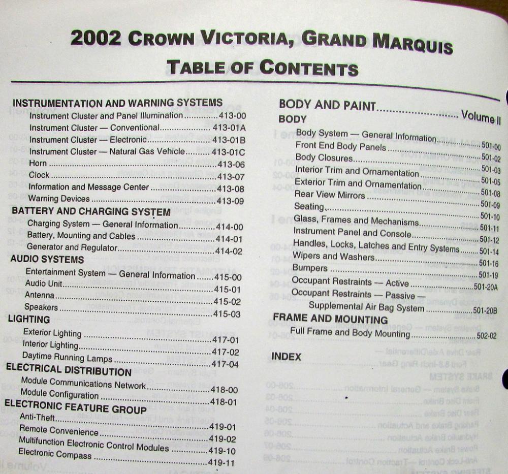 2002 ford crown victoria mercury grand marquis service. Black Bedroom Furniture Sets. Home Design Ideas