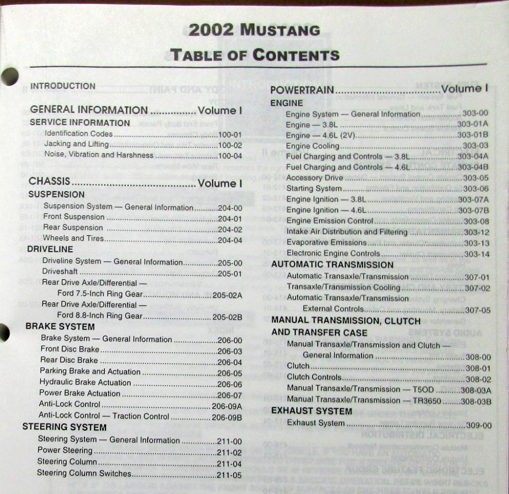 2002 Ford Mustang & Mustang GT Volume 1 & 2 Service Shop Repair Manuals  Original