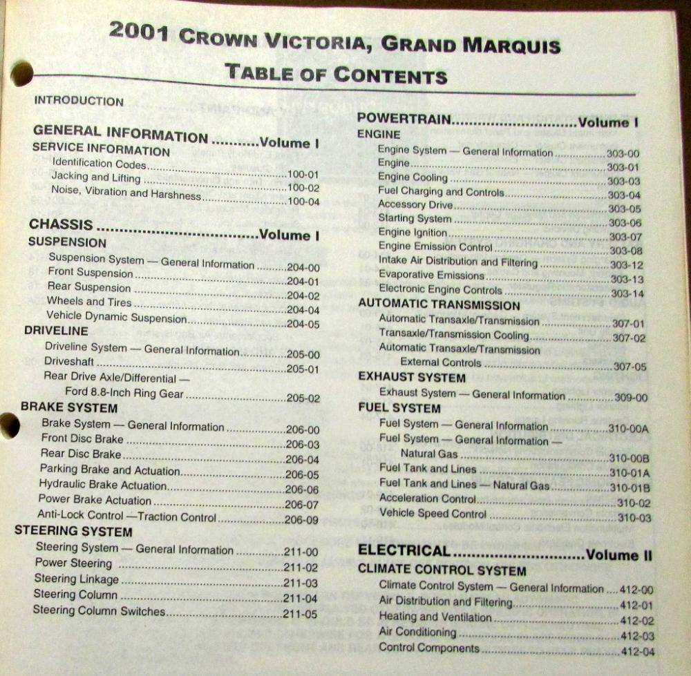 2001 Ford Crown Victoria & Mercury Grand Marquis Service Shop Repair Manual  Orig