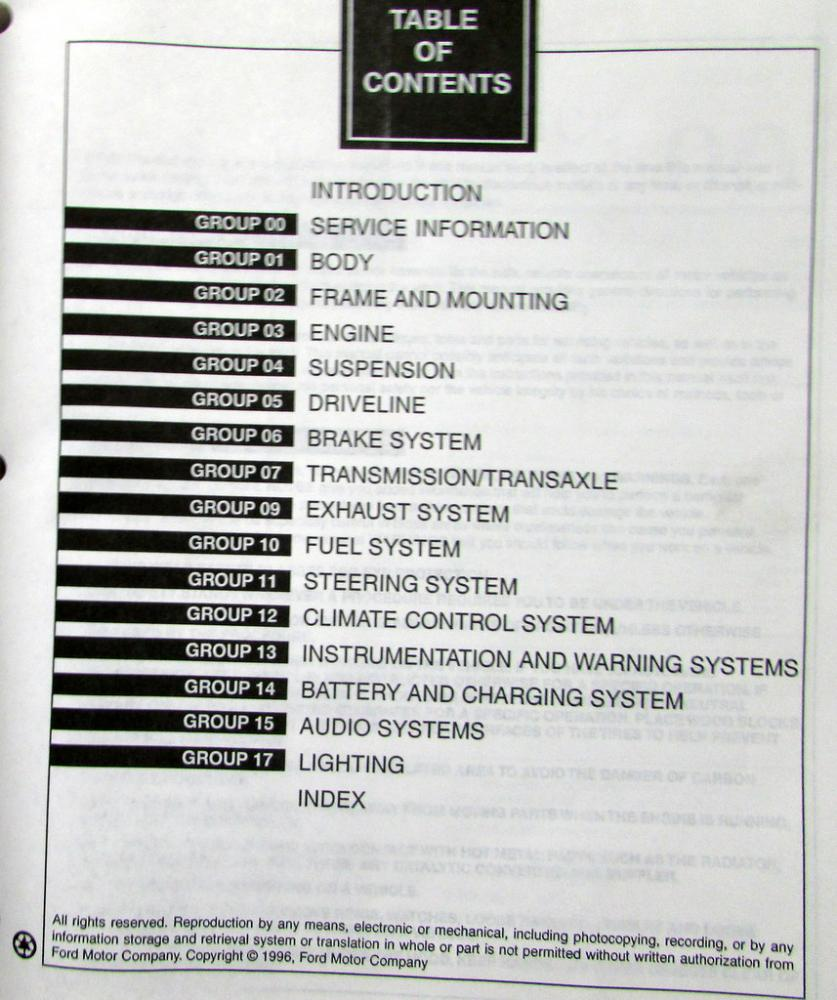 1997 Ford Thunderbird Mercury Cougar XR7 Shop Repair Service Manual Original