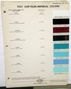 1957 Chrysler & Imperial DuPont Color Paint Chips Leaflets Original