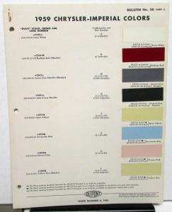 1959 Chrysler & Imperial Dupont Bulletin No 26 Color Paint Chips Original