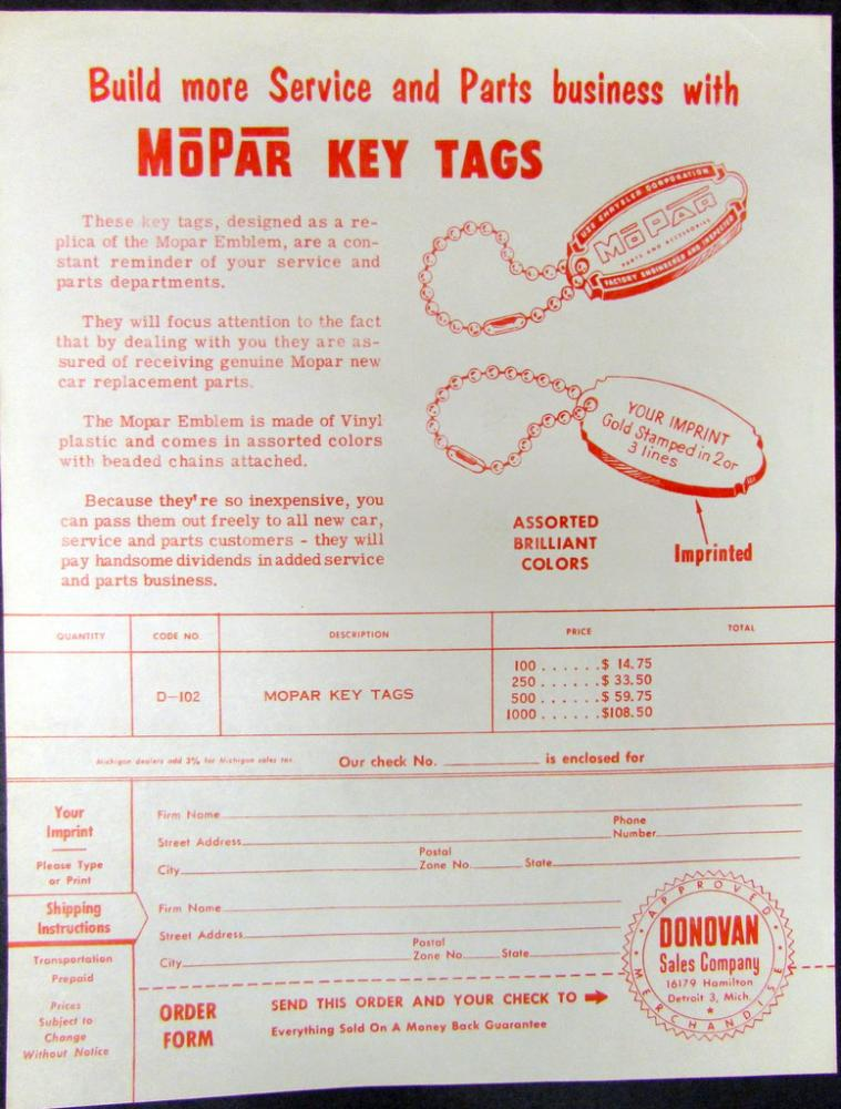 Circa 1950 Chrysler MOPAR Promotional Key Tags Dealer Order Form Original