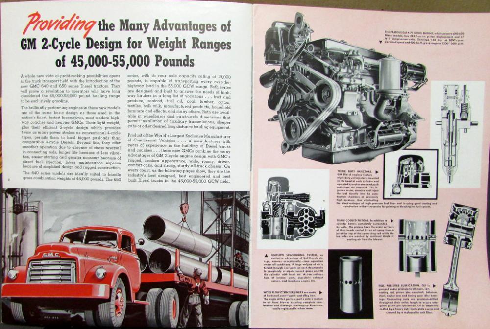 1950 Gmc Truck >> 1950 GMC Series 640 & 650 Diesel Light Weight Tractor Truck Orig Sales Brochure
