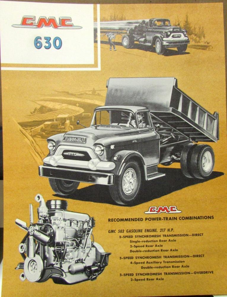 1958 GMC Truck 630 Series Original Color Data Sheet Sales