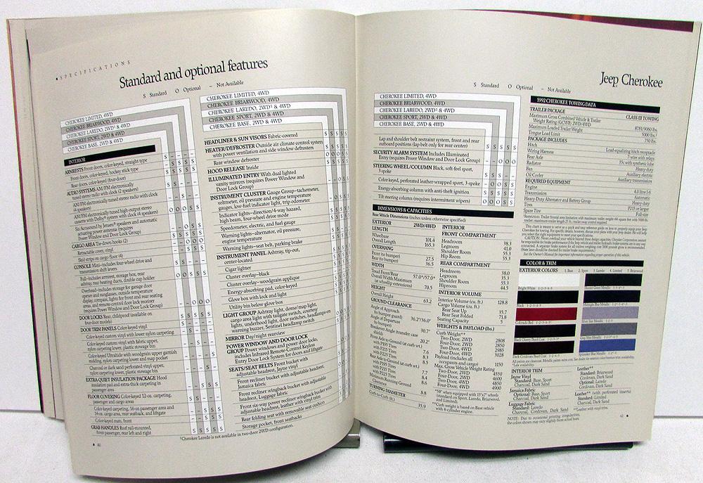 1992 Jeep Book Sales Brochure Wrangler Cherokee Comanche Pickup Original