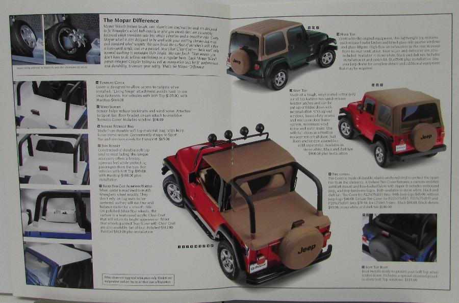 1999 Jeep Wrangler MOPAR Accessories Sales Brochure Color Catalog Dealer  Item